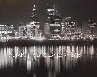 Photography Portland Oregon - at night after a spring rain- 8 x 10 black & white photo, single mat (11 x 14)