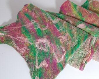 Rainbow Sherbert - Soft, Whimpsical Nuno Felted Scarf - Art Felt - Merino Wool and Silk - Pink, Green, Lime green Winter Accessories