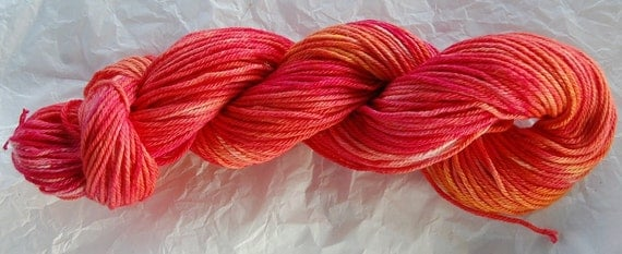 Hand-dyed Cotton - Hand painted Worsted Organic Cotton - Hot Pink, Coral, Orange - South Sea Coral