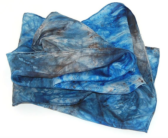 Hand Dyed Silk Scarf  Hand painted Fashion Blue, dk Brown - Batik Style