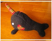 Black Narwhal with plaid heart and horn