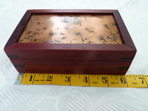 Handcrafted Jewelry/ Keepsake Box in Padauk with Copper Lid and Wenge Keys