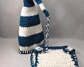 Crochet Newborn Cap with Diaper Cover teal white