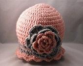 Crochet Pink Grey Cloche