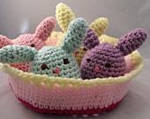Crochet Amigurumi Bunnies in Crochet Basket Pastel Spring Easter Children Toy Home Decor