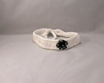 Crochet White Sparkle and Black Dog/Cat Collar