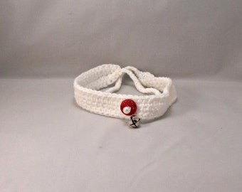 Crochet White Sparkle Dog/Cat Collar with Sparkle Red Button with White Pearl and Jingle Bell