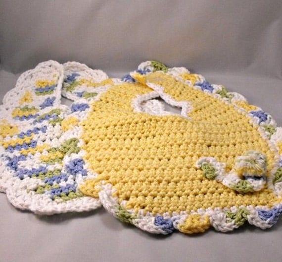 Spring Crocheted Bibs Bunny Easter Baby Yellow Set Nursery Baby Shower