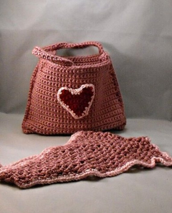 Crochet Pink Tote Bag and Pink Kerchief with Red Heart