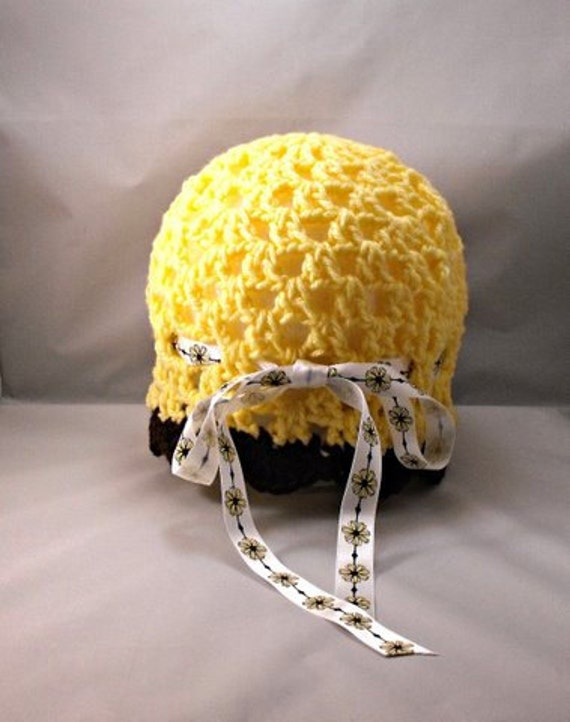 Crochet Yellow Brown Spring Beanie with Bow