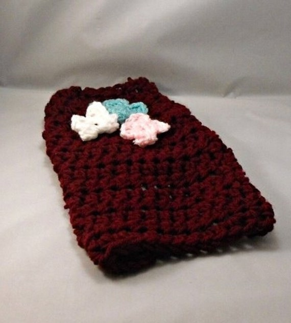 Crochet Burgundy Dog Sweater with Flowers Size Small