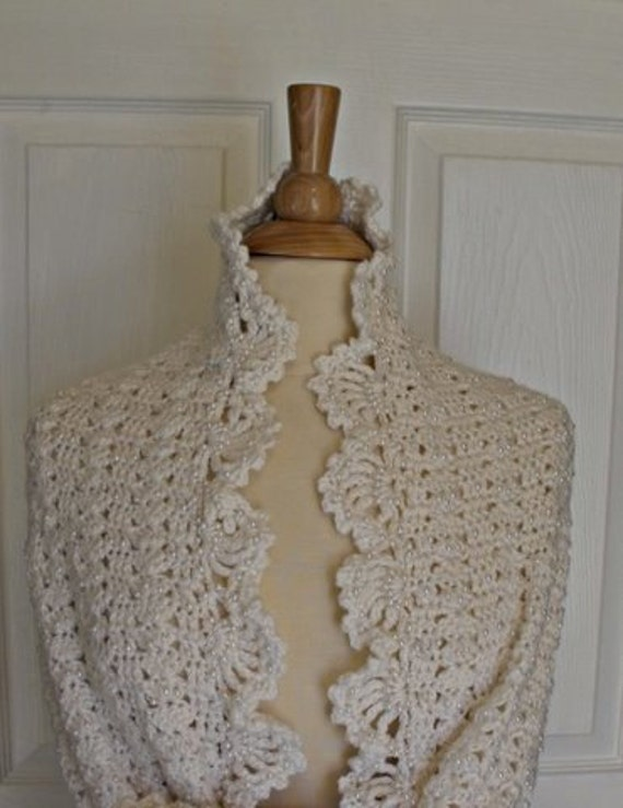Crocheted White Elegant Shawl - Made To Order - Wedding Communion Prom Mothers Day Baptism Dances Father Daughter Dance Special Remembrance