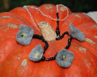 Gray and black felt Necklace