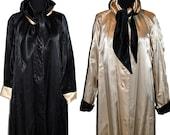 Vintage Black and Gold Satin Reversible Dress Coat Bow Ascot