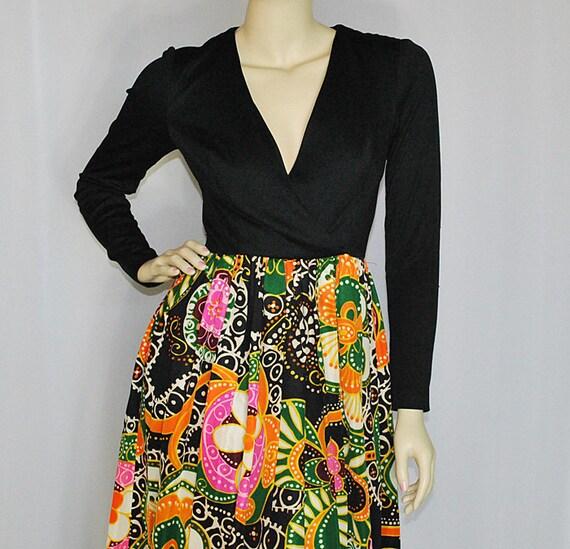 Vintage 60's 1960's Opt Art Maxi Dress XS