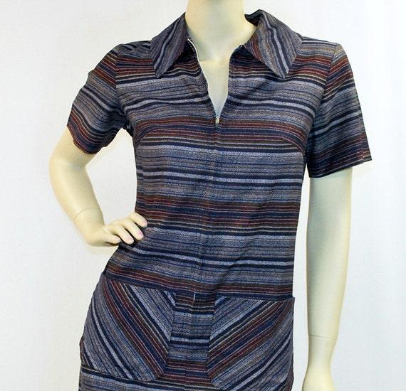 Vintage 60's Dress Navy Blue Striped Shift 1960s