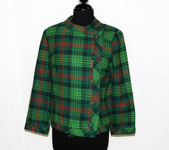 Vintage 60's 1960's Red and Green Plaid Ladies Jacket Wool Coat