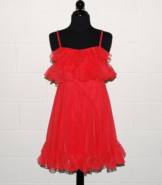Vintage 50s 60s RED ruffled babydoll nightie