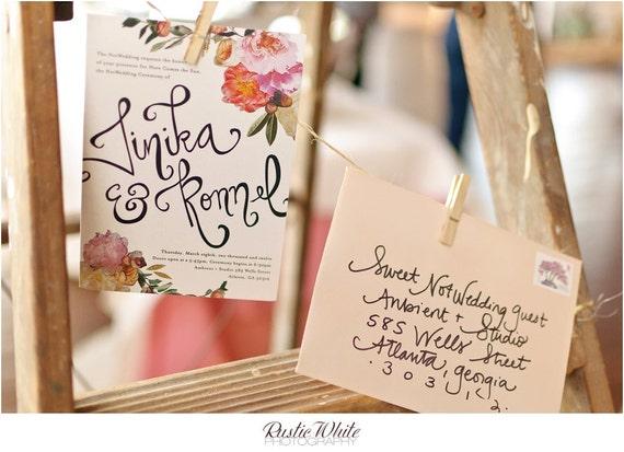 Wedding Invitation, Peach Floral Invitation Suite -The NotWedding 2012 Atlanta-Ruffled Blog
