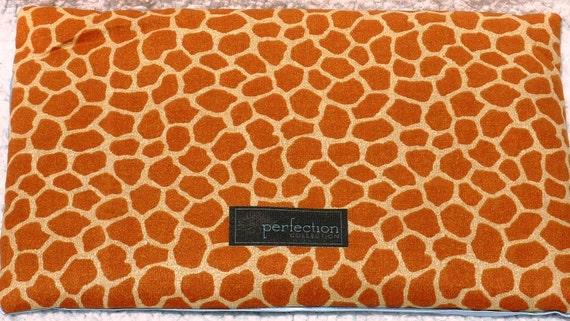 Extra Large Giraffe Print Flaxseed Filled Aches and Pains Pillow. Hot and Cold Therapy