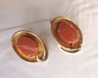 Vintage Goldstone Shimery Brown Cultured Stone Oval Earrings Clip On