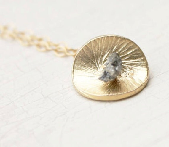 Delicate Gold and Rough Cut Diamond Pendant Necklace
