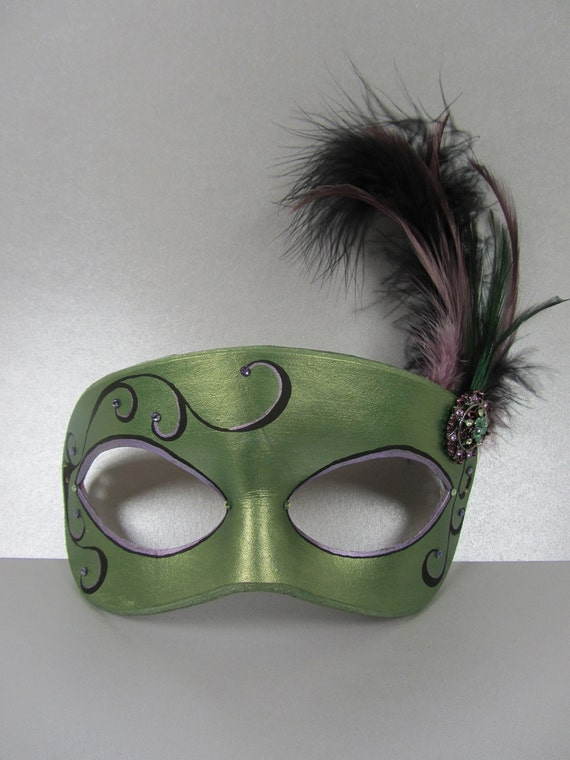 Green and purple masquerade mask