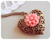 romantic antique flower heart locket