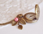 Antique pocket watch necklace love style filigree