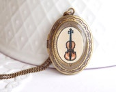 Hand Painted Miniature Violin Locket Necklace with Original Watercolour Painting - Made to Order