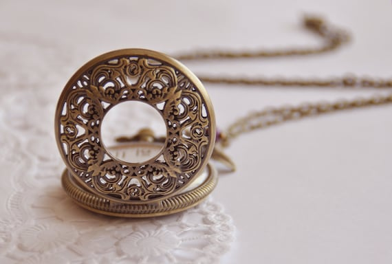Romantic pocket watch necklace antique style filigree