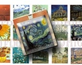 Van Gogh 1 inch squares-Digital collage sheet-Printable download-Collage sheet-Inchies-Magnets-Scrapbooking-Pendants- BUY 3 get 1 FREE