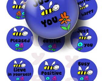 INSTANT Download Bee sayings 1 inch circles digital collage sheet great for bottle caps, magnets,and more BUY 3 get 1 FREE