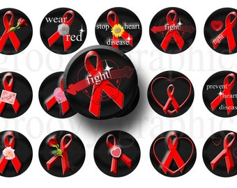 Heart disease awareness bottle cap images-Badge reels-Pendant making-Magnets-Bottle cap crafts-Fundraiser craft