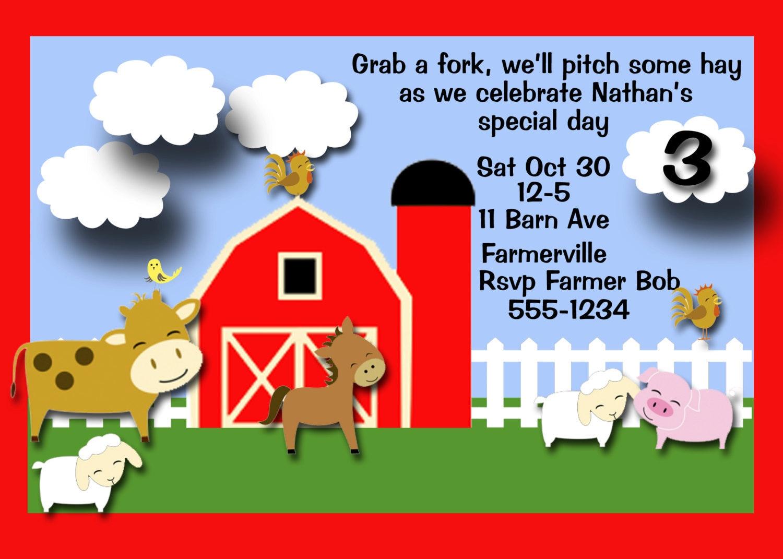Farm Birthday Party Invitations for luxury invitations sample