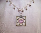 "Pink Heart ""Pure Love"" Solder Art Pendant Necklace with Bell Chain"