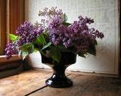 Reserved for Zoe Keating - Vintage Black Frankoma Pedestal Vase or Planter
