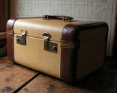 Vintage Tan Tweed Train Case trimmed in leather and brass