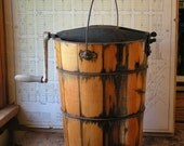Vintage Ice Cream Maker with Natural Wood Bucket