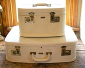 Vintage Bridal Set of White Towncraft Suitcases