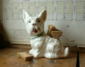 Vintage White Dog Porcelain Planter or Vase - CopperAndTin