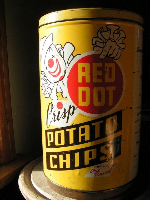 Vintage Red Dot Potato Chip Tin