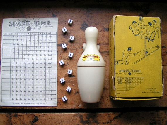 Vintage Tabletop Spare Time Bowling Game in original box