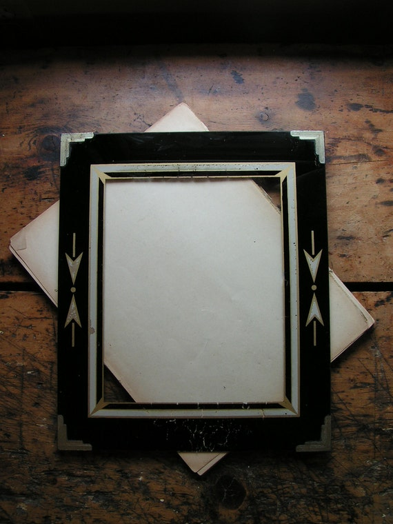 Vintage Reverse Painted Art Deco Black Picture Frame