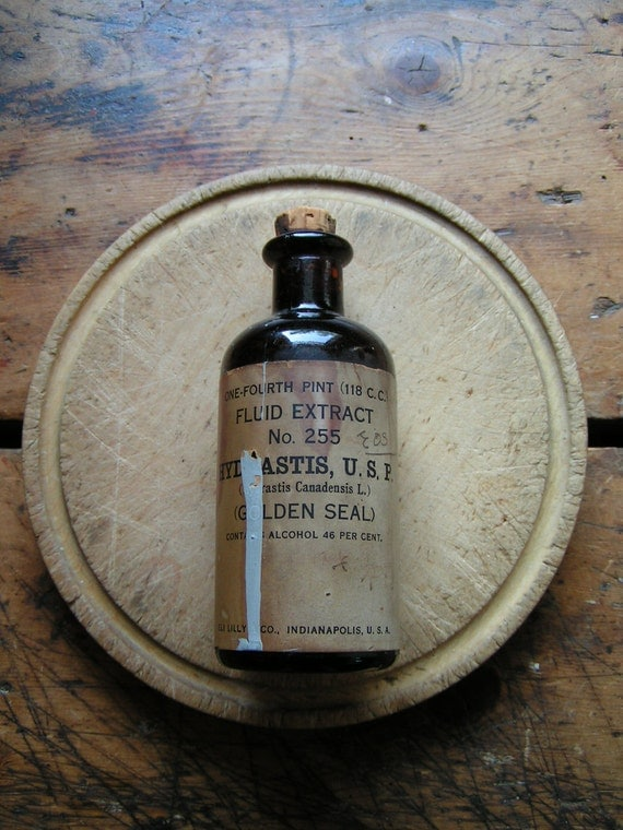 Vintage Brown Pharmacy Bottle - Golden Seal