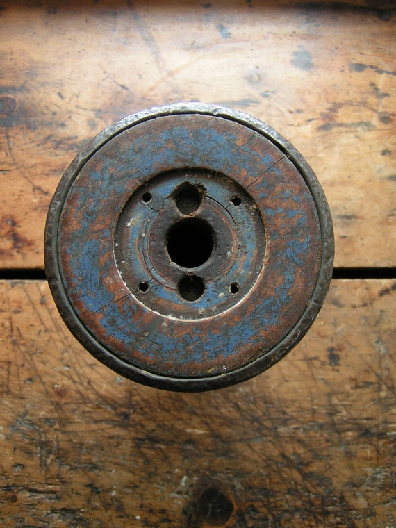 Vintage Large Industrial Yarn Spool with Rustic Blue Paint