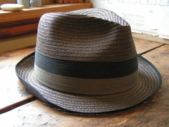 Vintage Men's Straw Fedora Hat with Grey and Black Hat Band