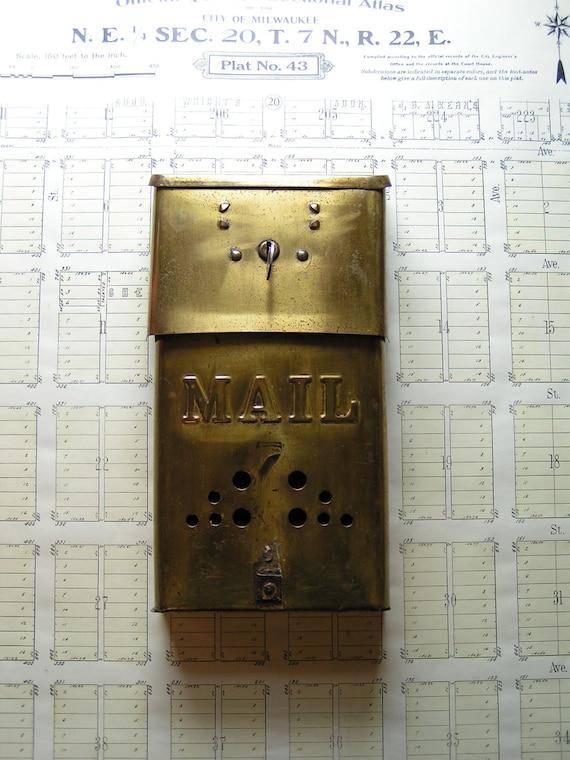 Vintage Locking Brass Mail Box with Key