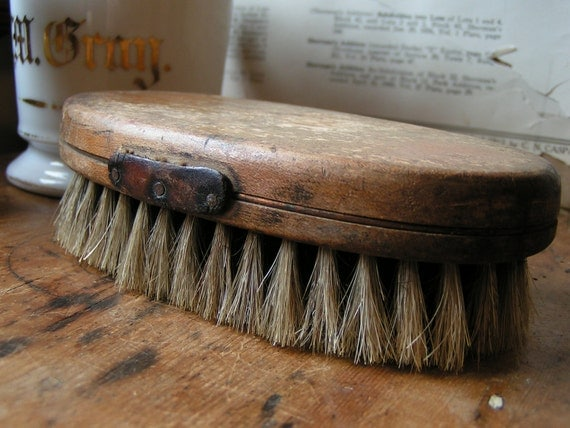 Vintage Two Tone Natural Bristle Wood Handled Oval Brush