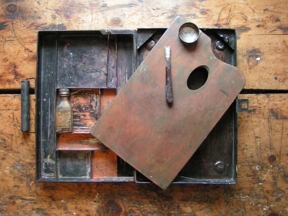 Vintage Metal Artist's Paint Box with Wood Palette